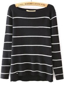 Boat Neck Striped Black Sweater