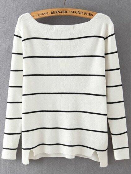 Boat Neck Striped White Sweater
