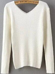 V Neck Slim White Sweater