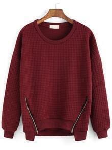 Round Neck Zipper Red Sweatshirt