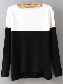 jersey cuello barco recorte-negro y blanco