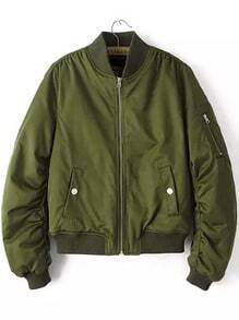Stand Collar Zipper Crop Army Green Coat