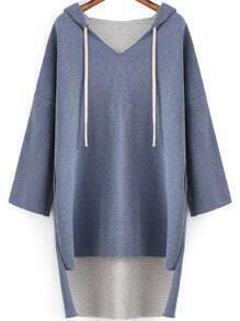 Hooded Dip Hem Loose Blue Sweatshirt