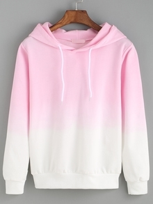Hooded Pink Ombre Loose Sweatshirt