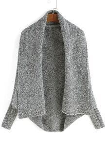 Lapel Batwing Sleeve Knit Grey Cardigan