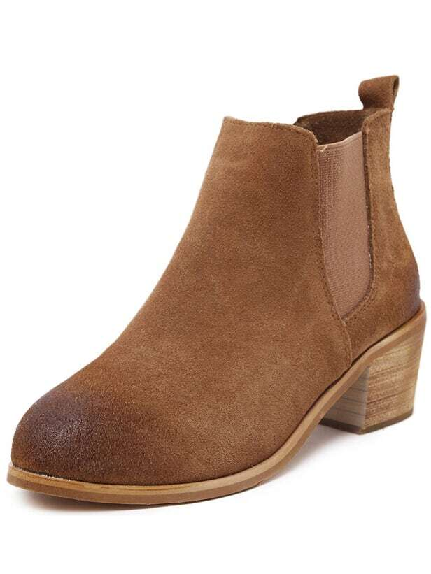 Brown Chunky Heel Corrected Grain Leather Boots