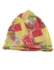 Yellow Cotton Stretch Colorful Printed Women Beanie Hat