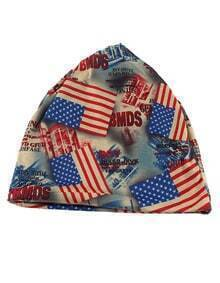 Blue Cotton Stretch Colorful Printed Women Beanie Hat