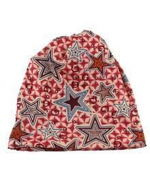 Cotton Stretch Hotpink Printed Women Beanie Hat