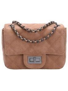 Khaki Twist Lock Diamond Pattern Chain Bag