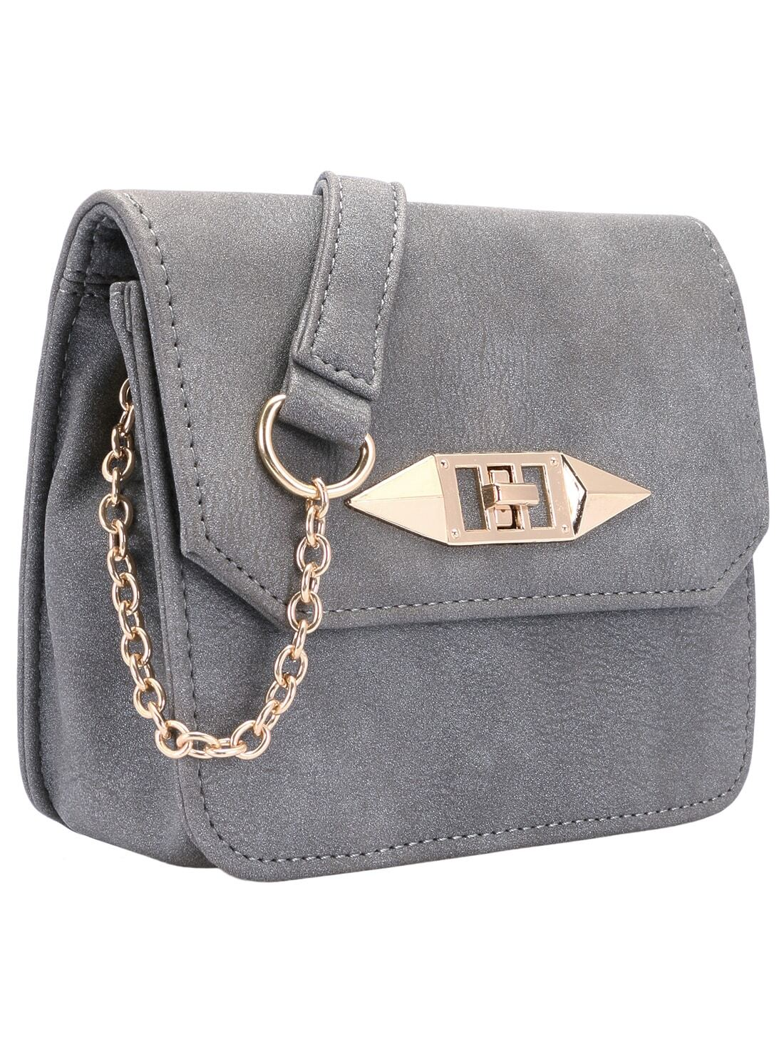 Grey Twist Lock Chain Bag