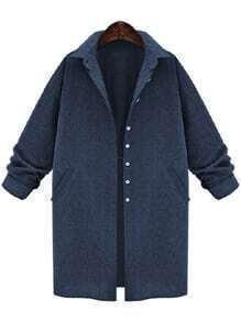 Lapel Buttons Pocket Loose Blue Blouse