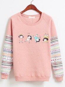 Round Neck Cartoon Girls Print Sweatshirt