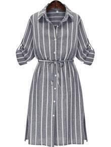 Lapel Vertical Stripe Split Shirt Dress
