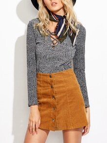 Lace-up Slim Knit Sweater