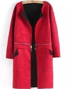 Zipper Pockets Red Coat