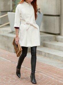 White Lapel Pockets Coat