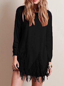 Long Sleeve Tassel Sweater Dress