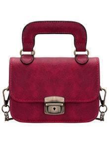 Red Push Lock PU Chain Bag