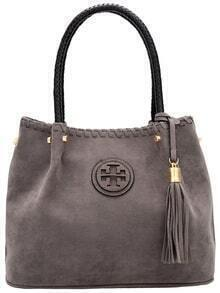 Grey Zipper Tassel PU Bag