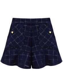 Plaid Pockets Ruffle Zipper Shorts