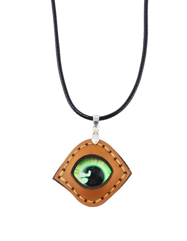 Pu Leather Chain Green Stone Eye Shaped Necklace