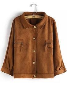 Lapel Buttons Pockets Suede Khaki Coat