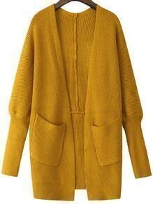Pockets Dolman Yellow Cardigan