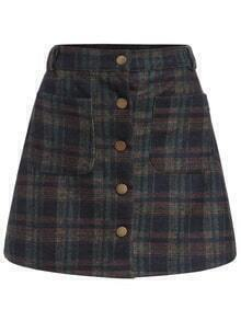 Checkered Pockets Buttons A-Line Skirt