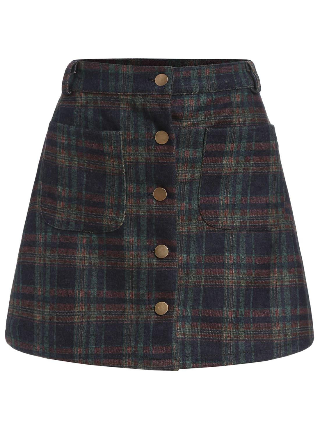 checkered pockets buttons a line skirt