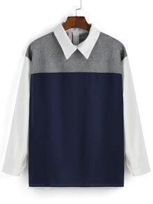 Color-block Lapel Zigzag Blouse