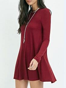 Burgundy Long Sleeve Casual Dress