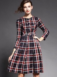 Multicolor Round Neck Long Sleeve Drawstring Print Dress