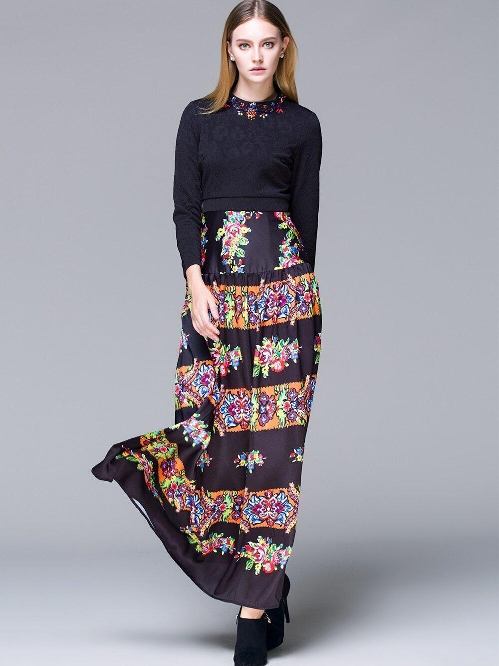 robe manche longue avec perles noir french romwe With robe de cocktail combiné avec acheter bracelet hipanema