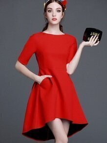 Red Round Neck Short Sleeve Pockets High Low Dress