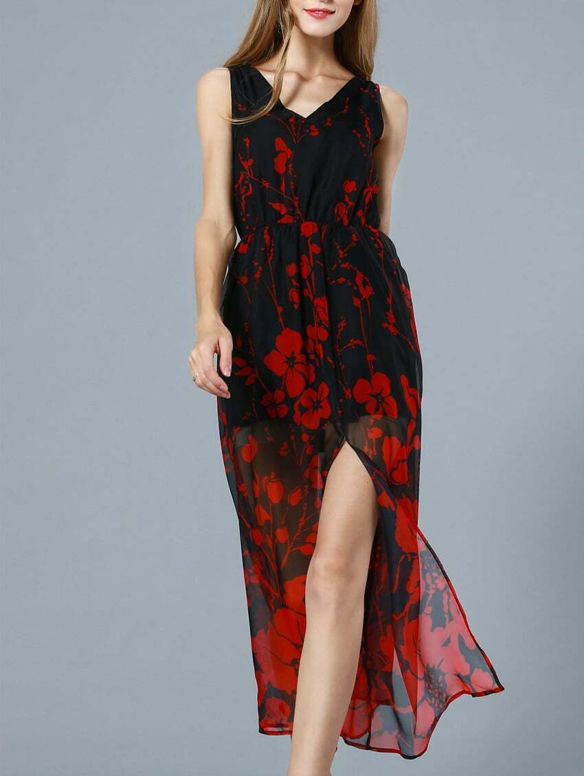 robe longue fleuri col v rouge french romwe With robe rouge col v