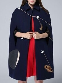 Navy Lapel Print Cape Coat