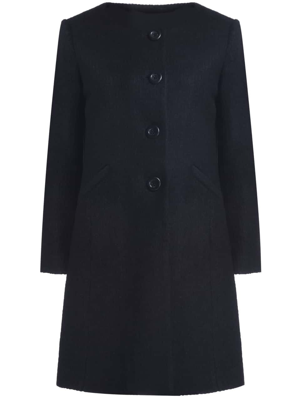 Black Round Neck Long Sleeve Wool-Blend Coat