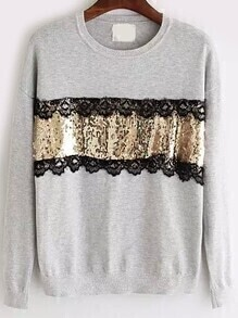 Contrast Lace Sequined Sweater