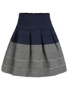 High Waist Color-block Zipper Flare Skirt