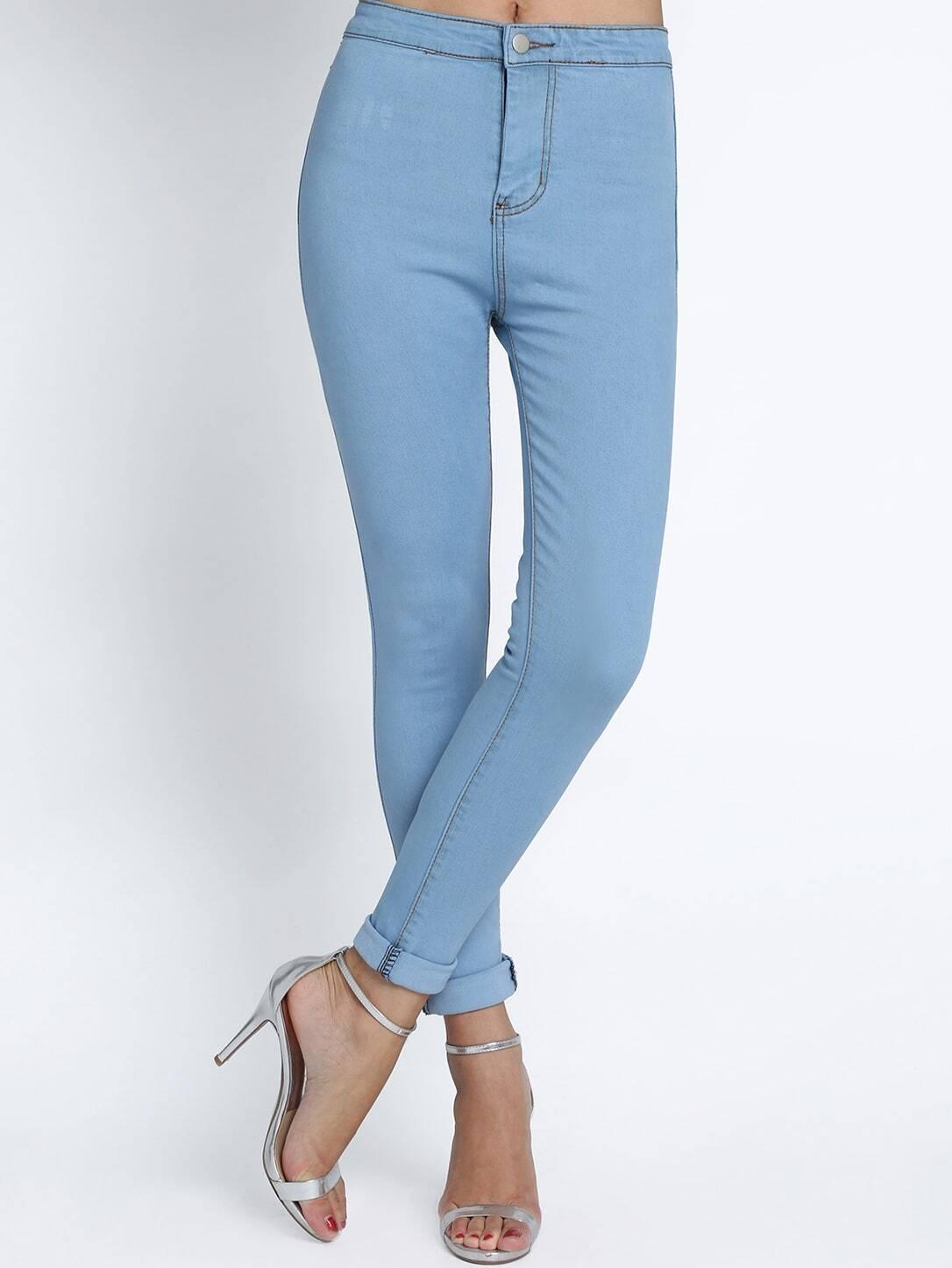 pantalon taille haute en denim amincissant bleu clair. Black Bedroom Furniture Sets. Home Design Ideas