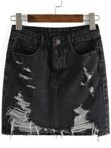 Ripped Denim Skinny Black Skirt