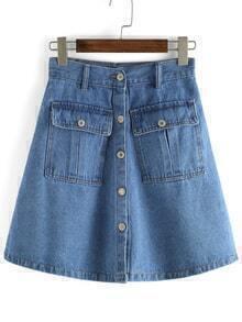 Pockets Single Breasted Denim A-Line Pale Blue Skirt