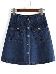 Pockets Single Breasted Denim A-Line Blue Skirt
