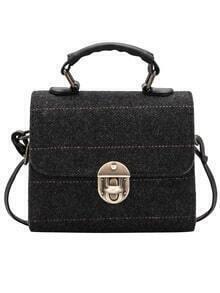Black Twist Lock Striped Bag