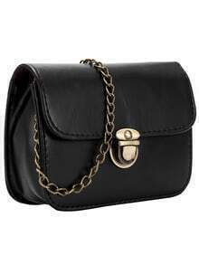 Black Metallic Push Lock PU Chain Bag