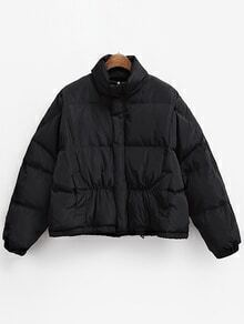 Stand Collar Zipper Loose Black Coat