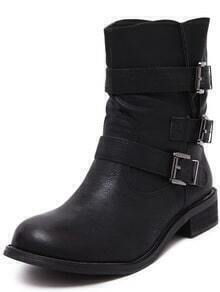 Black Round Toe Buckle Strap Boots