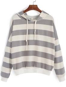 Hooded Striped Drawstring Loose Sweatshirt
