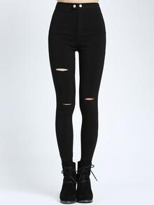 Pantalon taille élastique en denim - noir